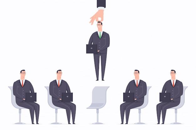 Illustrazione piana di concetto del fumetto di vettore di processo di reclutamento con personale selezionato Vettore Premium