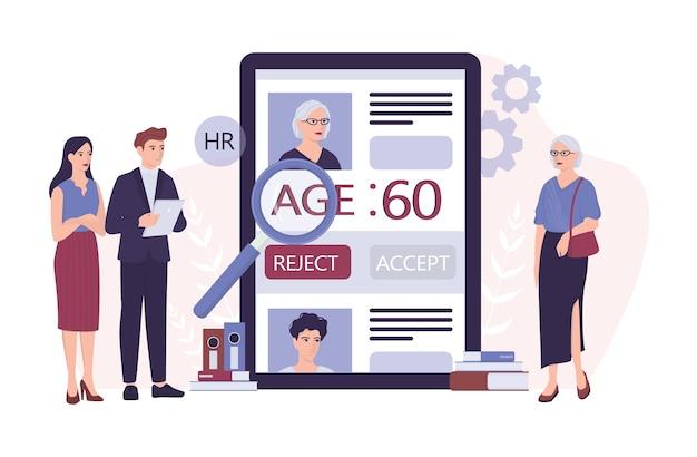 Ageismo di reclutamento. lo specialista delle risorse umane rifiuta una vecchia cv. Vettore Premium
