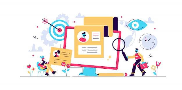 Concetto di reclutamento per pagina web, banner, presentazione, social media, documenti, carte, poster. illustrazione Vettore Premium