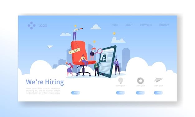 Reclutamento, pagina di destinazione del concetto di colloquio di lavoro. modello di sito web dei gestori delle risorse umane di persone piatte di posti vacanti. Vettore Premium