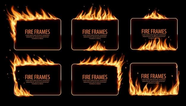 Cornici rettangolari, bordi in fiamme. realistiche lingue di fiamma ardente con particelle volanti e braci sui bordi rettangolari del telaio. bagliore. buchi bruciati nel fuoco, bordi fiammeggianti fissati Vettore Premium