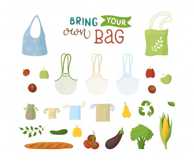 Set di illustrazioni piatte riciclabili e prodotti biologici. borse riutilizzabili, prodotti da forno e aromi, frutta e verdura Vettore Premium