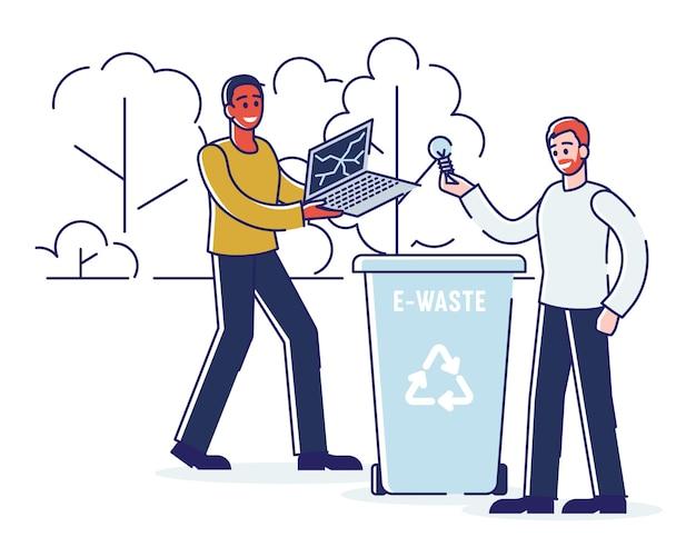 Riciclaggio, risparmio di ecologia e concetto di rifiuti zero. le persone gettano rifiuti elettronici nel cestino. gli uomini stanno gettando laptop rotto e lampadina nel cassonetto. cartoon outline flat. Vettore Premium