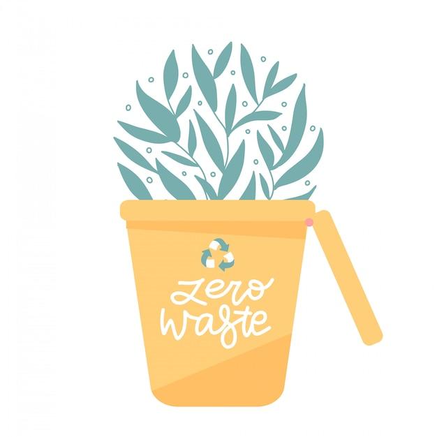 Cestino per la raccolta differenziata dei rifiuti. lattine per diversi tipi di rifiuti, come plastica, vetro e carta. progettazione di massima amichevole di eco con le foglie verdi che crescono dal recipiente. vettore piatto Vettore Premium