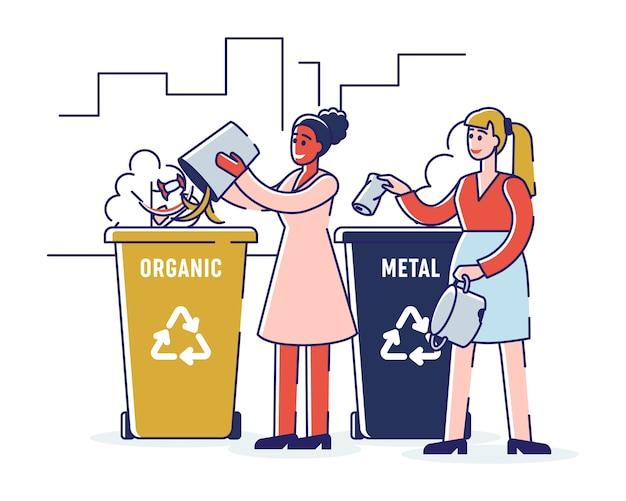 Riciclaggio e concetto di rifiuti zero. le ragazze stanno smistando i rifiuti organici e metallici gettando i rifiuti negli appositi cestini. cartoon outline flat. Vettore Premium