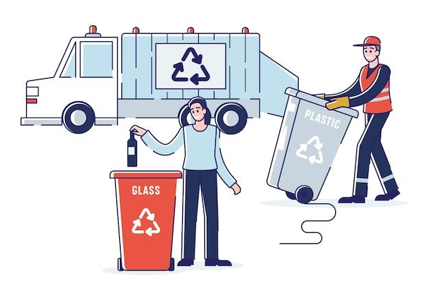 Riciclaggio e concetto di rifiuti zero. donna sta smistando immondizia gettando la bottiglia nel cestino. raccoglitore di rifiuti che carica i rifiuti nel camion della spazzatura. cartoon outline flat. Vettore Premium