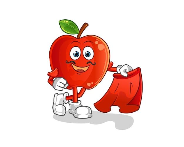 Matador rosso della mela con la mascotte del fumetto del panno rosso Vettore Premium