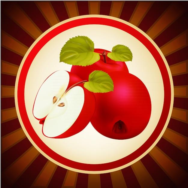 Modello di progettazione di layout di frutta mele rosse Vettore Premium