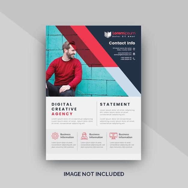 Volantino attraente rosso per ufficio aziendale Vettore Premium