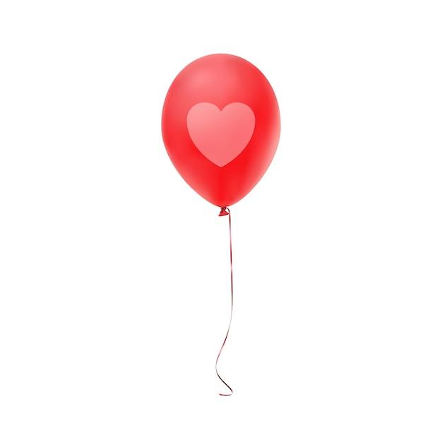 Palloncino rosso con stampa a cuore, isolato su sfondo bianco. Vettore Premium