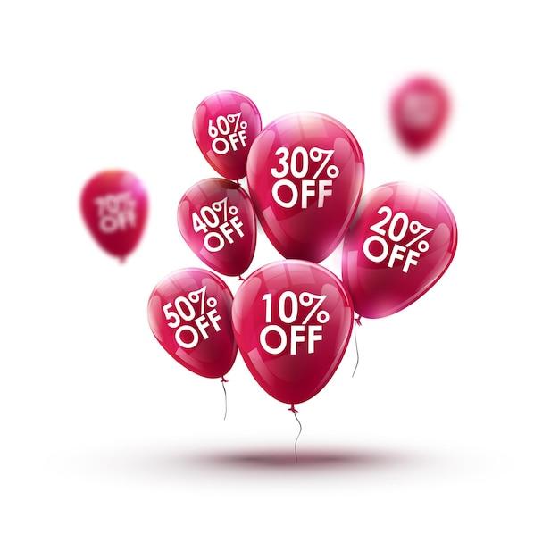 Palloncini rossi mercato pubblicità vendita concetto. progettazione di marketing per negozio o negozio. sfondo di sconto al dettaglio. Vettore Premium