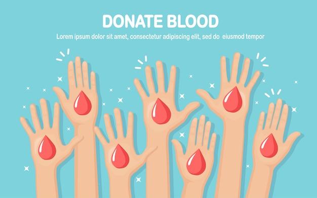 Goccia di sangue rosso nelle mani isolato su sfondo bianco. donazione, trasfusione nel concetto di laboratorio di medicina. salva la vita del paziente. design piatto Vettore Premium