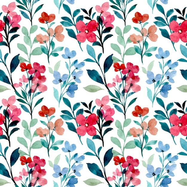 Reticolo senza giunte dell'acquerello di fiori selvaggi blu rosso Vettore Premium