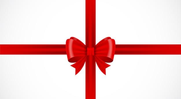 Nastro fiocco rosso su sfondo bianco pacchetto regalo fiocco rosso isolato Vettore Premium
