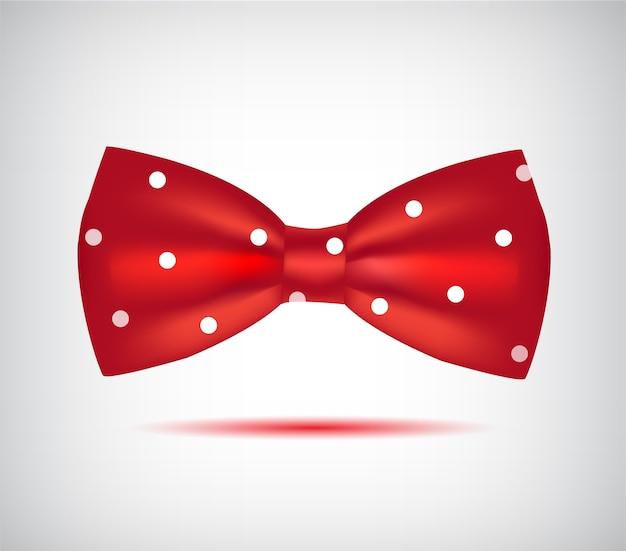 Icona di papillon rosso isolato su priorità bassa bianca Vettore Premium