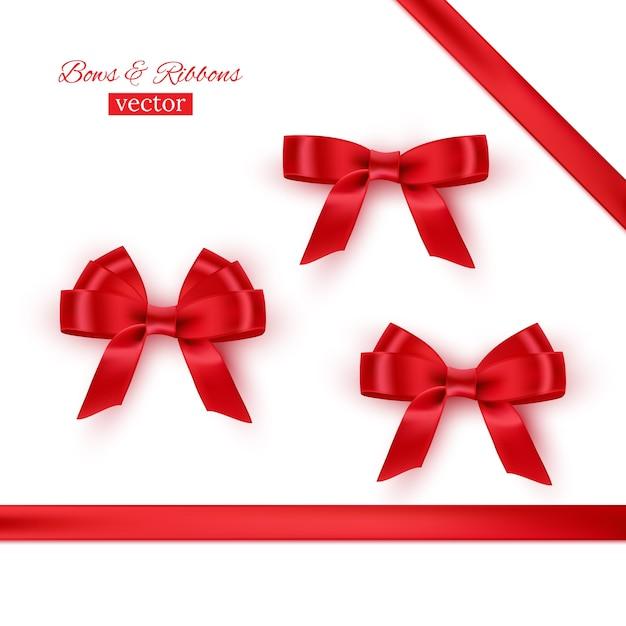 Set di fiocchi e nastri rossi. Vettore Premium