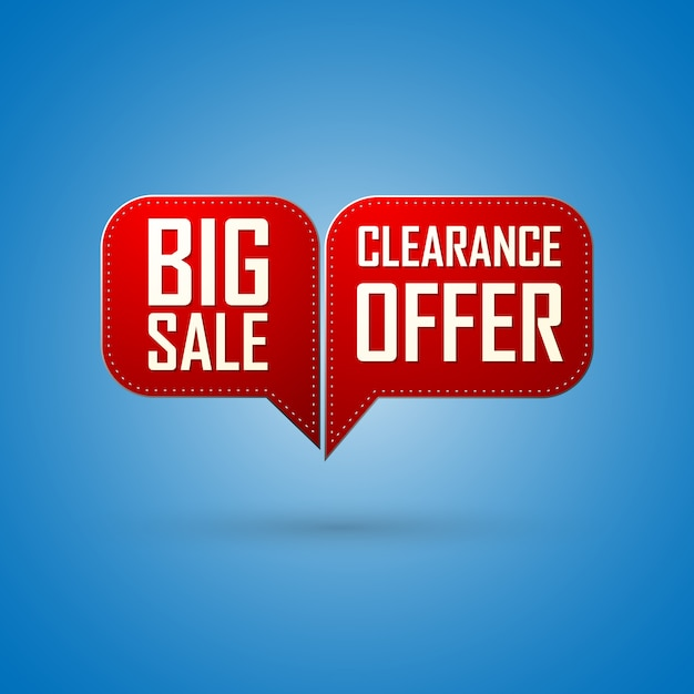 Offerta di vendita bolla rossa e design di grande vendita Vettore Premium