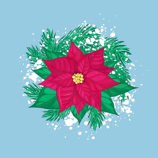 Stella di natale rossa di natale con rami di albero di natale e neve bianca. composizione vacanza isolata. Vettore Premium