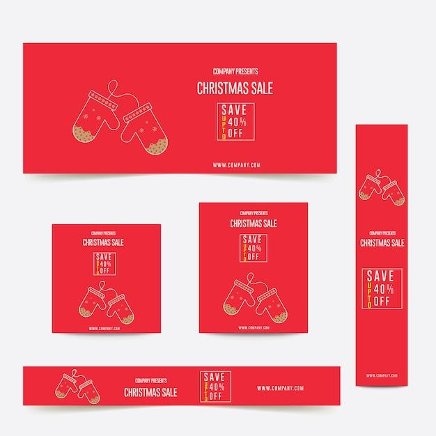 Banner pubblicitario di tema di colore rosso di buon natale Vettore Premium