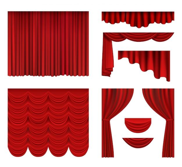 Tende rosse. decorazioni in seta da teatro per tende di lusso per cinema o teatro d'opera realistiche Vettore Premium