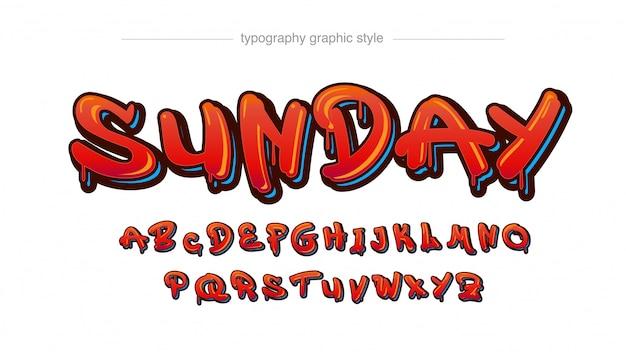 Tipografia stile tag graffiti 3d gocciolante rosso Vettore Premium