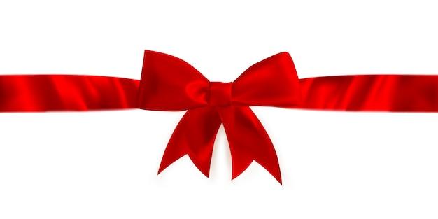 Nastro e fiocco regalo rosso. Vettore Premium