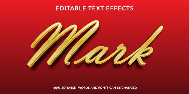 Red gold mark modificabile effetto di testo Vettore Premium