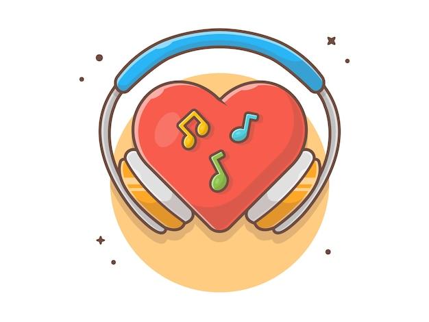 Red hearth love music con cuffia, nota e tune music vector icon illustration. bianco di concetto dell'icona di musica isolato Vettore Premium