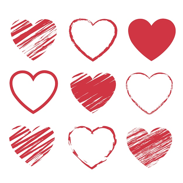 Set di simboli di cuori rossi isolato su sfondo bianco Vettore Premium