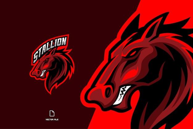 Logo esport della mascotte del cavallo rosso per l'illustrazione del modello della squadra di gioco Vettore Premium