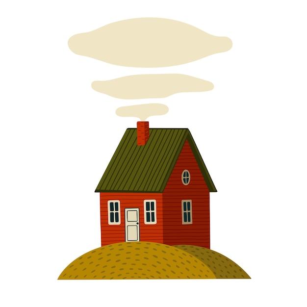 Casa rossa. casa del granaio in legno in stile rustico sull'isola verde. illustrazione in stile cartone animato su sfondo bianco Vettore Premium