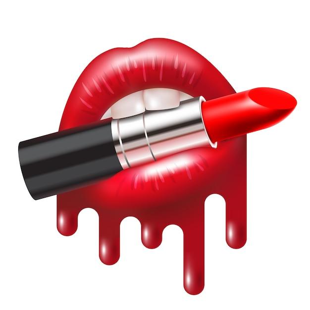 Rossetto rosso a bocca aperta con labbra fuse lucide Vettore Premium