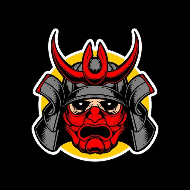 Logo samurai maschera rossa Vettore Premium