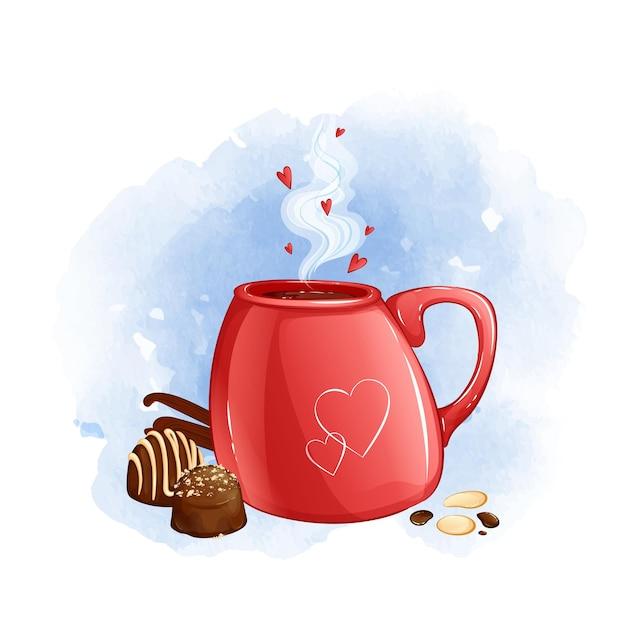Tazza rossa con bevanda calda e cioccolatini. sfondo acquerello. Vettore Premium