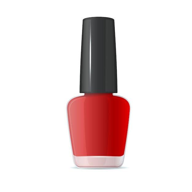 Bottiglia di smalto rosso su sfondo bianco. Vettore Premium
