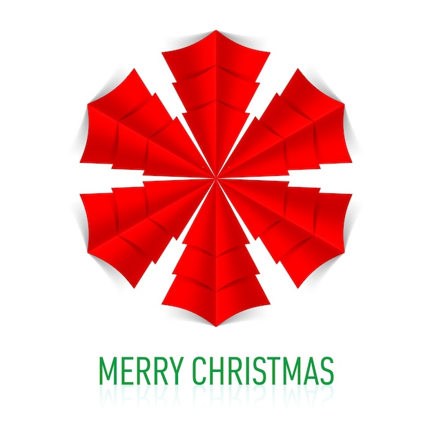 Fiocco di neve di carta rosso su sfondo bianco. biglietto natalizio. Vettore Premium