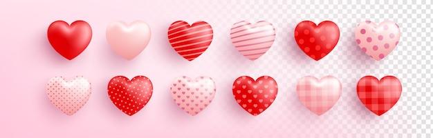 Cuore dolce rosso e rosa con diversi modelli su trasparente Vettore Premium