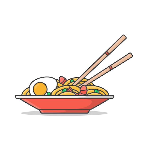 Piatto rosso di tagliatelle ramen con uova sode Vettore Premium