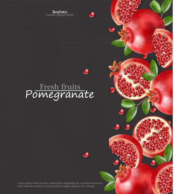 Melograno rosso realistico, frutta fresca isolata, sfondo nero Vettore Premium