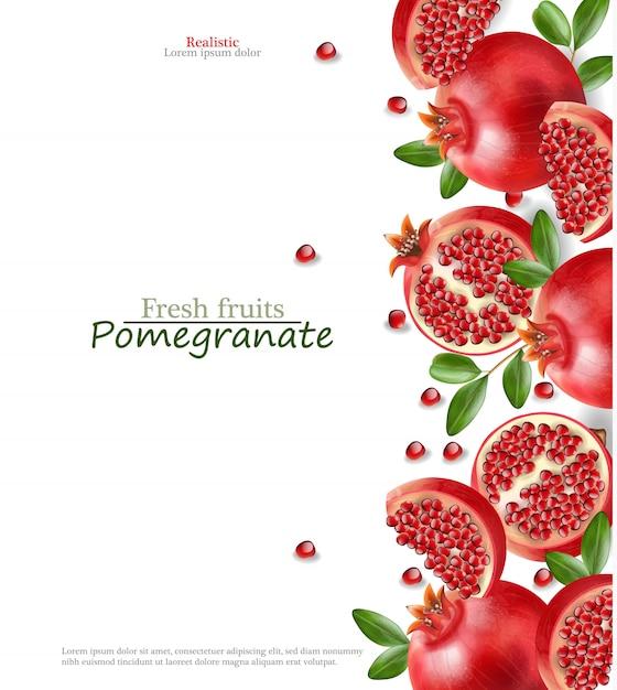 Melograno rosso realistico, frutta fresca isolata, fondo bianco Vettore Premium