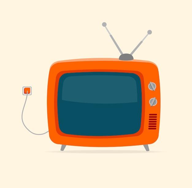 Tv retrò rossa con filo e piccola antenna isolata su sfondo bianco. Vettore Premium