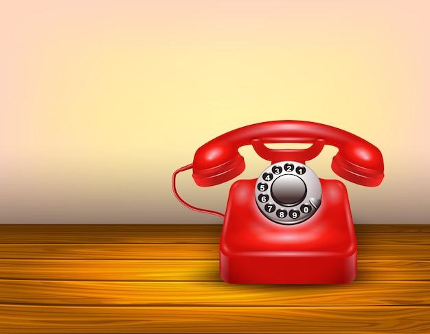 Concetto di telefono rosso Vettore Premium