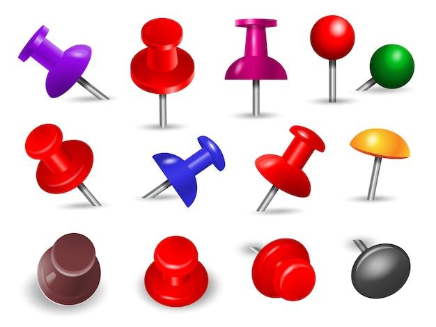 Puntina rossa. forniture per ufficio per la spinta della nota di carta e gli oggetti allegati organizzano set di pennarelli colorati con perno di montaggio angolare. Vettore Premium