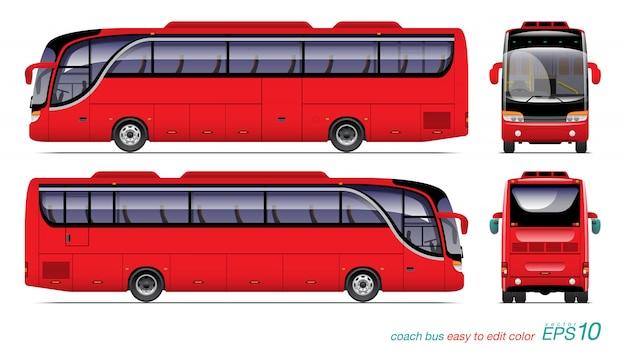Illustrazione rossa del bus turistico Vettore Premium