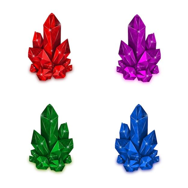 Cristallo rosso, viola, verde e blu isolato su sfondo bianco. Vettore Premium
