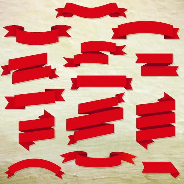 Nastri web rossi impostati con illustrazione maglia gradiente Vettore Premium