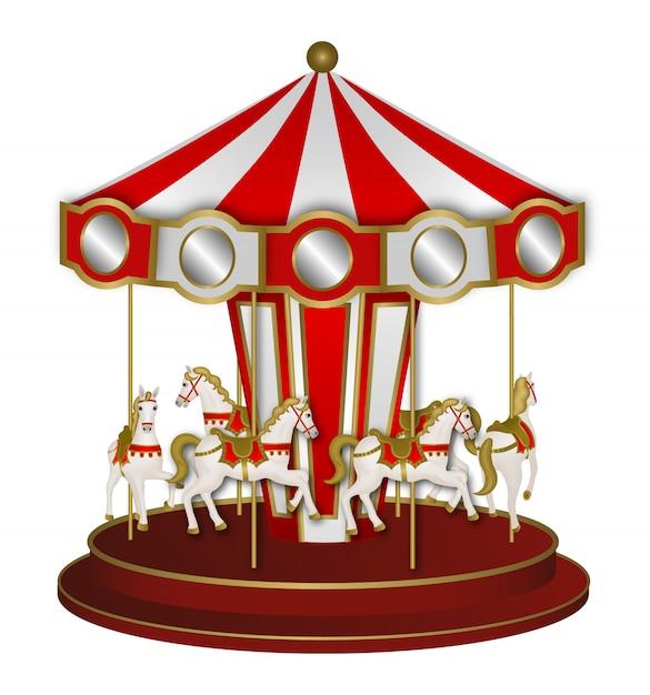 Giostra rossa e bianca con cavalli bianchi Vettore Premium