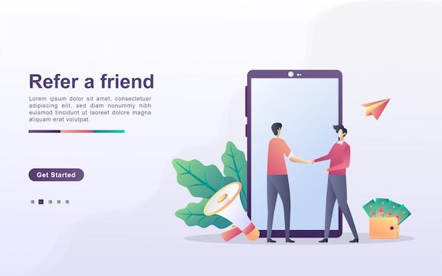 Segnala un concetto di amico. partnership di affiliazione e guadagnare denaro. strategia di marketing. programma di riferimento e marketing sui social media. Vettore Premium