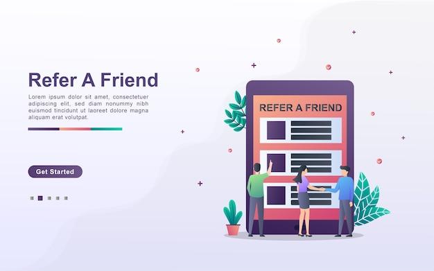 Segnala un concetto di amico. partnership di affiliazione e guadagna denaro. strategia di marketing. Vettore Premium