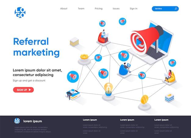 Modello di pagina di destinazione isometrica di referral marketing Vettore Premium
